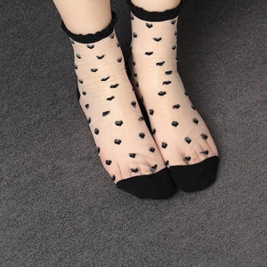 Summer Style Women Girls Love Pattern Cotton Blended Ultra thin Socks Transparentdresskily-dresskily