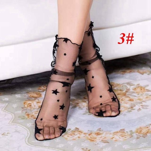 1Pair Sexy Breathable Silk Heap Heap Soft Elasticity Black Fishnet Lace Flowerdresskily-dresskily