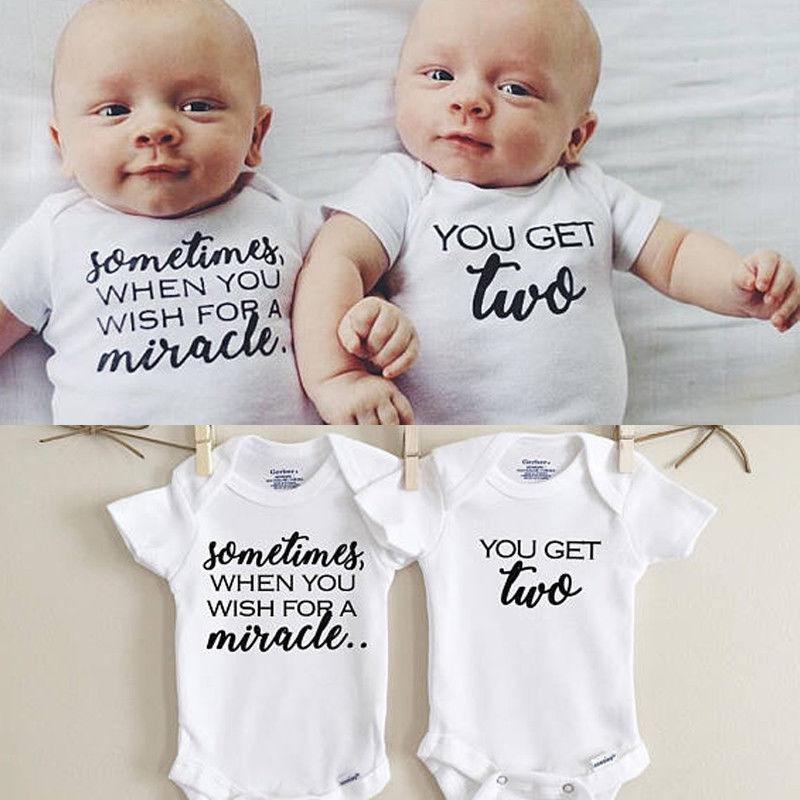 Newborn Twins Clothing Baby Boys Girls Clothes Whiter Letter Printed Bodysuit Shortdresskily-dresskily