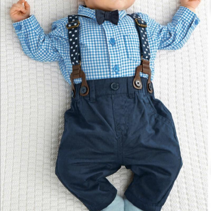 Outfits Baby Boy Autumn Plaid Shirt Suspender Pants Formal Wedding Outfitsdresskily-dresskily