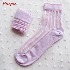 1 Pair Summer Women Ladies Fashion Sheer Mesh Glass Silk Socks Ultrathindresskily-dresskily