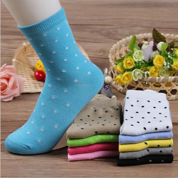 Women's Fresh Cute Polka Dot Socks Candy Colors Cotton Ankle Socks Softdresskily-dresskily
