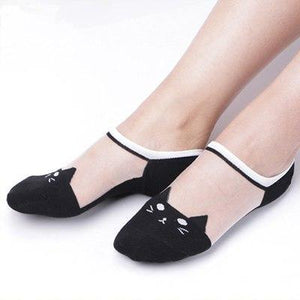 1 Pair Spring Summer Fashion Socks Ultra-thin Transparent Cute Cat Socks Womendresskily-dresskily