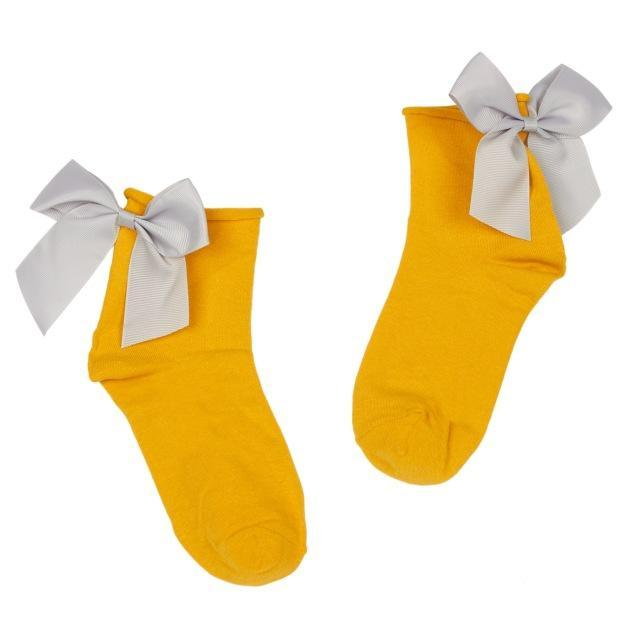 Women's Lovely Candy Color Bow Socks Cute Casual Contrast Color Shortdresskily-dresskily