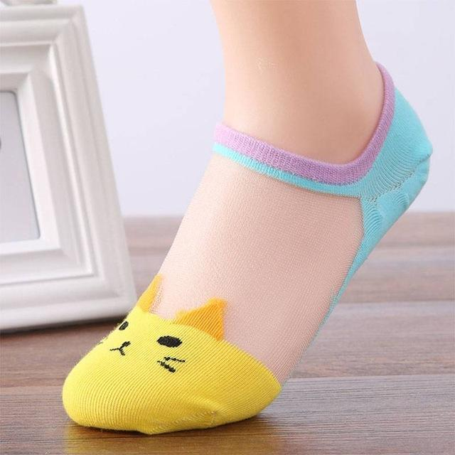 2017 New Women Fashion Casual Cat Silk Ankle High Low Cut Invisibledresskily-dresskily