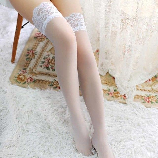 Top Quality Women's Hosiery non-slip Stay Up Thigh High Silk Stockings Hose.Ladiesdresskily-dresskily