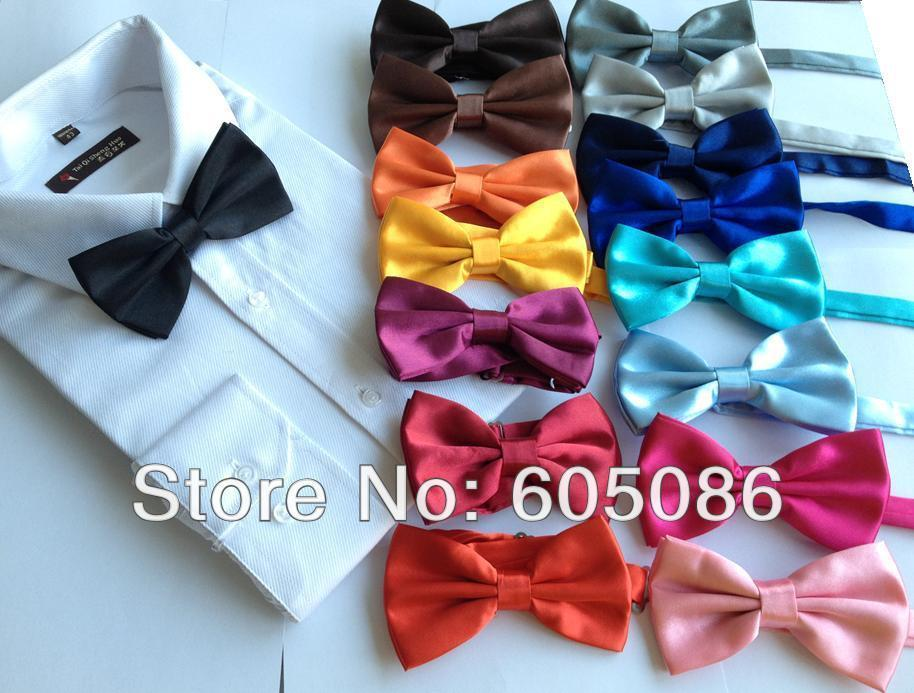 HOOYI 2018 Solid copy silk Men's Bow Tie for men bowtie necktiedresskily-dresskily