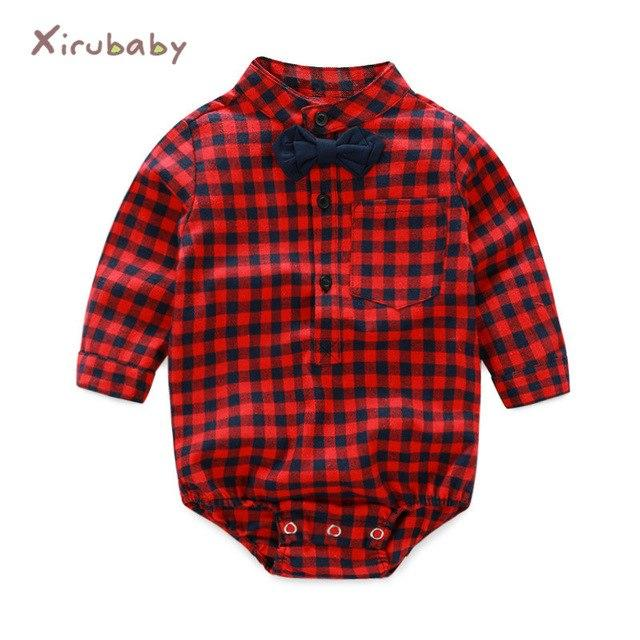 Xirubaby 2018 Spring Baby Boy Plaid Rompers Newborn Boys Gentleman Playsuit Infantdresskily-dresskily