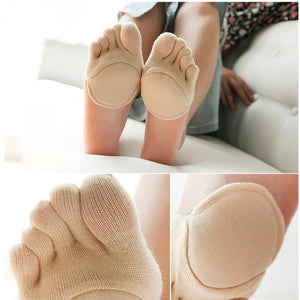yogis Women Socks Silicone Anti-slip Lining Open Toe Heelless Liner Cotton Socksdresskily-dresskily