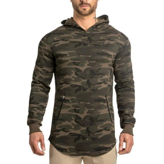 2018 spring new Mens Camouflage Hoodies Fashion leisure pullover fitness Bodybuilding jacketdresskily-dresskily