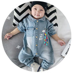 3 Styles Soft Denim Baby Romper Graffiti Infant Clothes Newborn Jumpsuit Babiesdresskily-dresskily