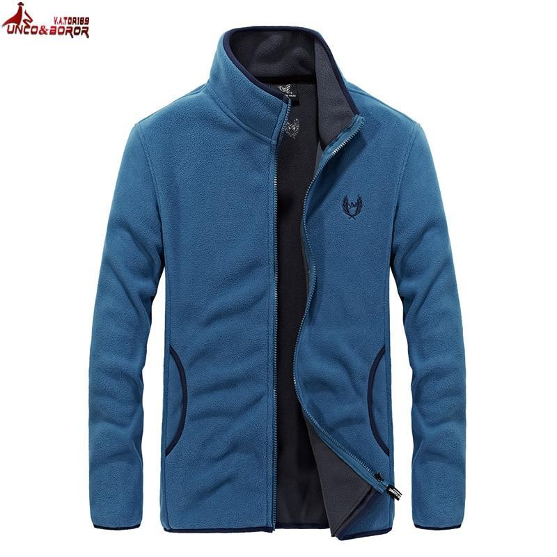 UNCO&BOROR new men`s Soft shell Fleece denim blue Hoodies Sweatshirt Men Hipdresskily-dresskily