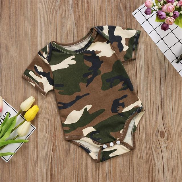 Newborn Baby Boy Girl bodysuits clothes Camo cotton Short Sleeve kidsdresskily-dresskily