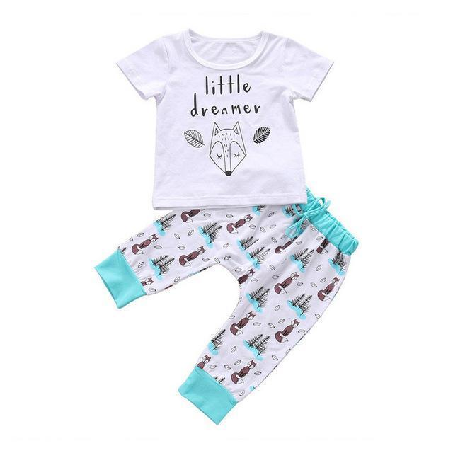 Top and Top Summer Baby Boys Girls Clothing Sets 2Pcs Short Sleevedresskily-dresskily
