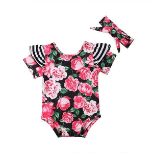 Newborn Summer Baby Girl Kids Floral Striped Romper Jumpsuit Clothes Outfit Setdresskily-dresskily