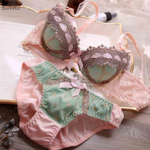 JYF Hot Sale Women Underwear Set Sexy Lace Embroidery Push Up Bradresskily-dresskily