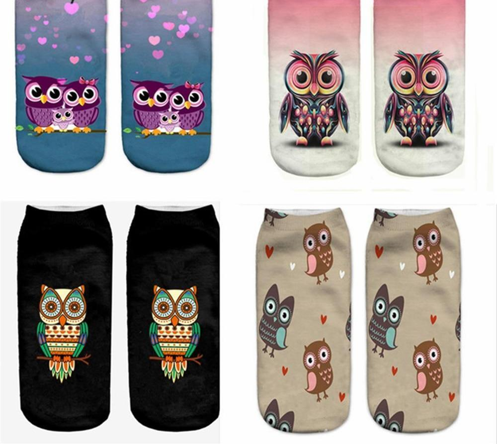 2018 New Meias Summer Autumn Harajuku Owl Socks 3D Print Animal Women'sdresskily-dresskily
