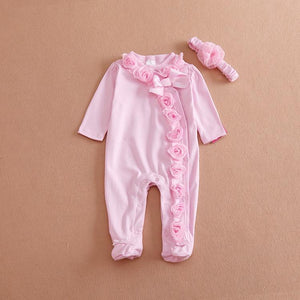 Newborn baby girl clothes Bow/Flowers baby clothing set & Cartoon warm rompersdresskily-dresskily