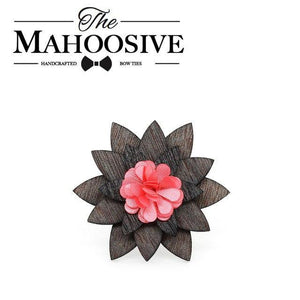 Antique Pink Color Flower Wooden wood Small Cute Brooch Lapel Pins fordresskily-dresskily