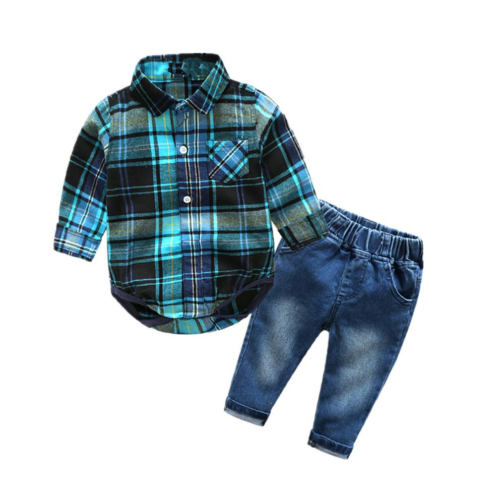 Newborn clothes plaid shirt with jeans blue color bebes clothing set 2pcs/setdresskily-dresskily