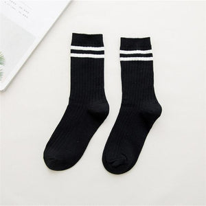 Funny Cute Japanese High School Girls Cotton Loose Striped Crew Socks Colorfuldresskily-dresskily