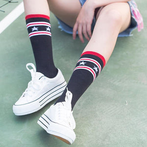 PEONFLY 2018 Women Stars Stripe Full Cotton Original funny Socks women kawaiidresskily-dresskily