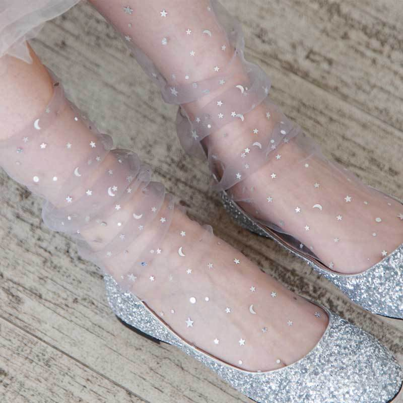 Unique Design Sequins Star Shiny Socks Female Fairy Transparent short Harajuku Socksdresskily-dresskily