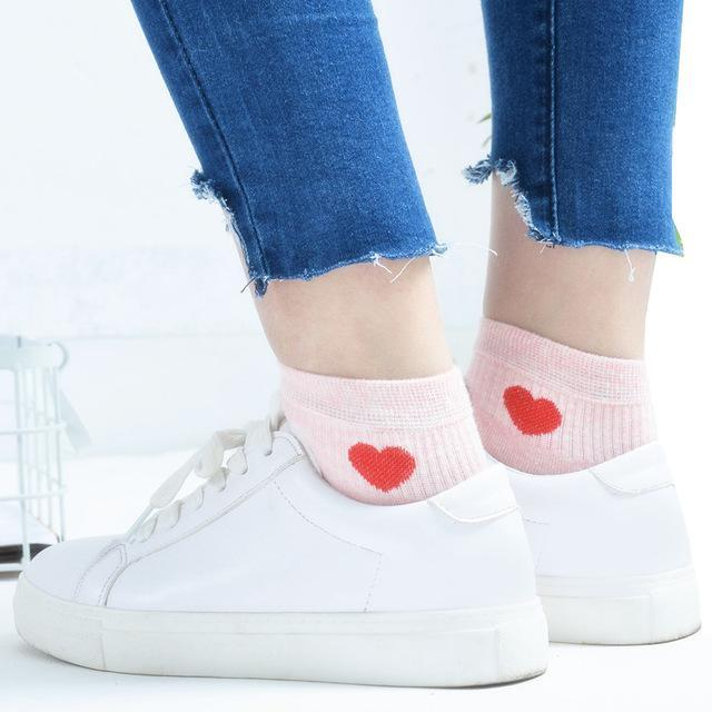 New Arrival 1 Pair Women Heart Low Cut Comfortable Cotton Ankle Socksdresskily-dresskily