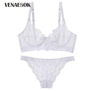 Fashion Blue Embroidery Bras Lace Lingerie Set Transparent Hollow out See Throughdresskily-dresskily