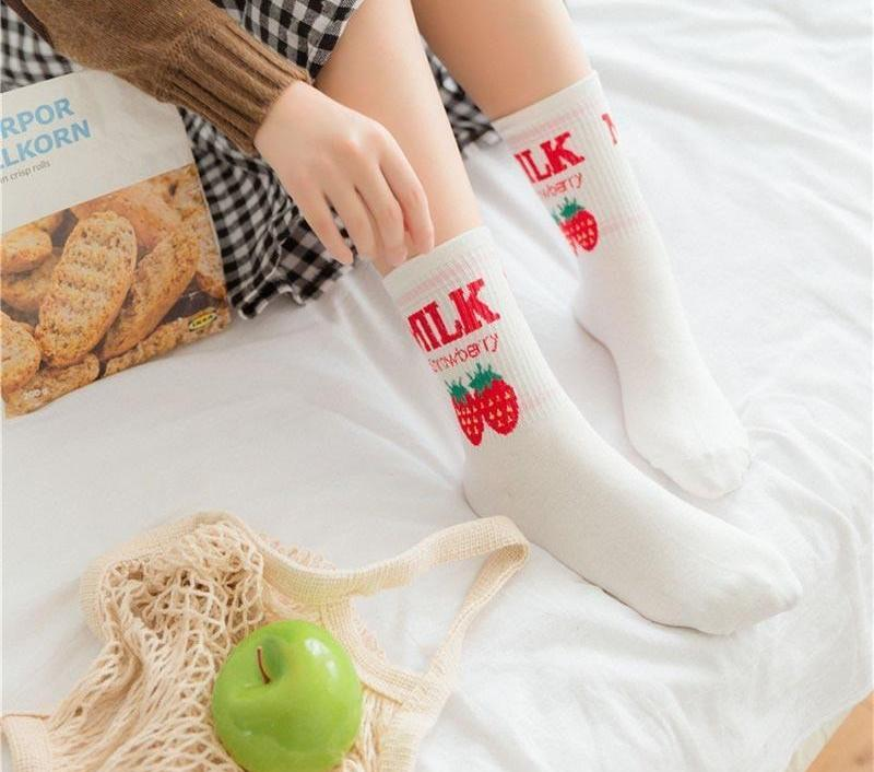 YUFREE 35-39 Female Ulzzang Cotton Socks Letter Milk Strawberry Pattern Pink Cutedresskily-dresskily