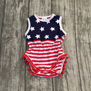 baby girls Summer raglans children girls july 4th romper suit baby childrendresskily-dresskily