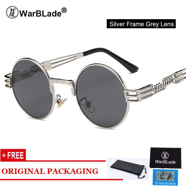 Gothic Steampunk Sunglasses Men Metal Round Shades Male Clear Sun Glasses Fordresskily-dresskily