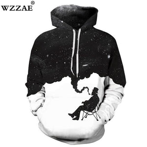 2018 Brand New Fashion Men/Women 3d Sweatshirts Print Einstein Smoking Space Galaxydresskily-dresskily