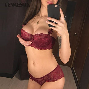 New Brands Sexy Underwear Set Women Thin Cotton Lace Bra Lingerie Setsdresskily-dresskily
