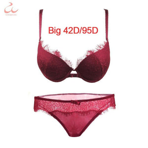 Burgundy Sexy Bra Set Ladies Eyelash Lace Push Up Bra and Pantydresskily-dresskily