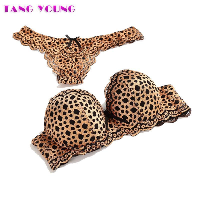 Women lace seamless underwear set sexy leopard bra set plus size Pushdresskily-dresskily