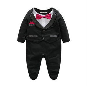 Kimocat Newborn Baby Casual Romper Gentleman wedding Long Sleeve Climb Clothes Setsdresskily-dresskily