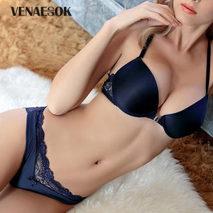 Y-line Straps Fashion Brand Front Closure Bra Set Push-up Thick Blue VSdresskily-dresskily