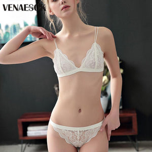 New Flowers Embroidery Bra And Panty Sets Brand White Lace Lingerie Setdresskily-dresskily