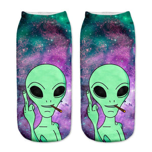 2018 New arrival Women Low Cut Ankle Socks Funny Aliens 3D Printingdresskily-dresskily