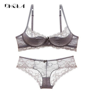 New Hot Gray Sexy Underwear Women Set Thin Cotton Comfortable Brassiere Lacedresskily-dresskily
