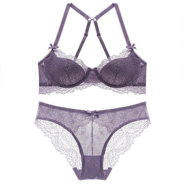Women's sexy bra set lace underwear adjustable straps plus size lingeriedresskily-dresskily