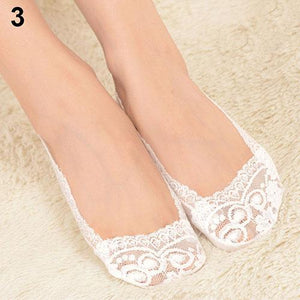 Lady Must Have Fashion Women's Cotton Lace Antiskid Invisible Liner Low Cutdresskily-dresskily