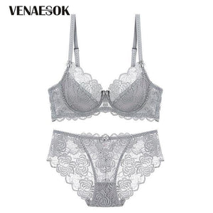 Fashion Gray Women Lingerie Transparent Bra Set Plus Size C D Cupdresskily-dresskily