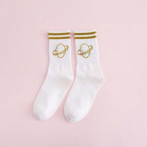[]Colorful Cotton Flight Pattern Fashion Gold Silver Silk women socks comfortable Twodresskily-dresskily