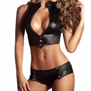 Black Sexy Underwear Set 2018 Women's Patent Leather Push Up Bra Pantiesdresskily-dresskily