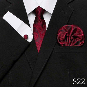 Wholesale Solid Wine red Men's Ties Set Neckties Pocket Square cufflinks dresskily-dresskily