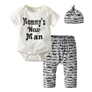 Newborn Baby Boys Summer Clothes Mommy's New Man Infant Short Sleeve Romperdresskily-dresskily