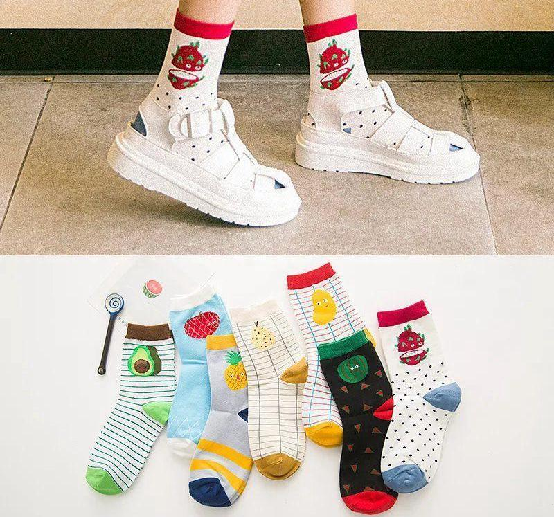 Cute Fruit Short Harajuku Socks Fashion Women Mango Pear Pineapple Patterned Socksdresskily-dresskily