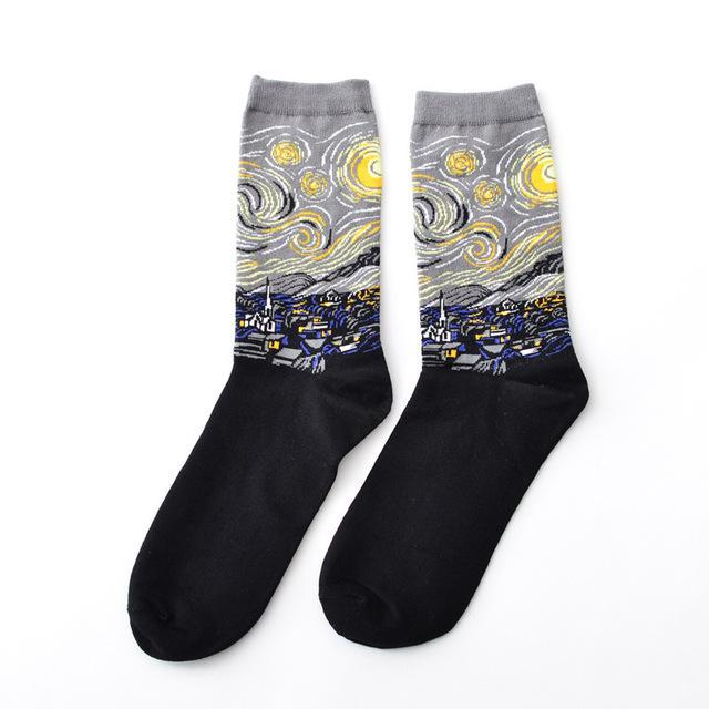 Starry Night Short Socks Funny Happy Retro Art Painting Character Pattern fordresskily-dresskily